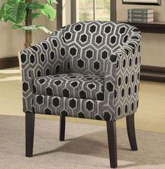 Coaster Company Charlotte Black/ White Geometric Barrel Home Living Room Chair #chair #accentchair #foamchair #furniture #homechair