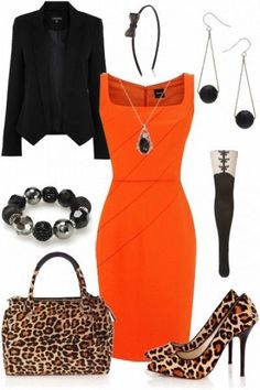 I'd go for plain black heels and a black leather bag (or one that matches the dress).but the rest would make a pretty work outfit. I would wear different shoes and a different purse Komplette Outfits, Classy Outfits, Casual Outfits, Fashion Outfits, Orange Outfits, Casual Attire, Work Fashion, Fashion Looks, Style Fashion