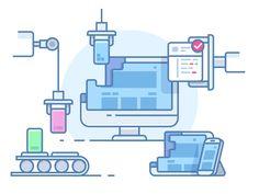 Website building design line illustration Web Design, Line Design, Flat Design, Icon Design, Graphic Design, Site Vitrine, Software, Best Icons, Line Illustration