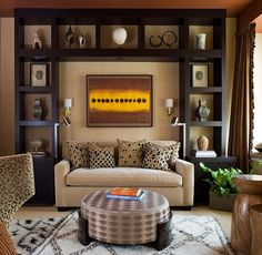 Contemporary living room with a fabulous display and a Moroccan rug African Style Interior Design To Usher In The Exotic And The Earthy