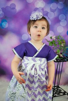 Purple Kimono Dress for Toddlers and Little Girls - Handmade in Purple Chevrons #Etsy #christmas