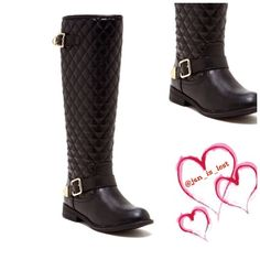 "Sale Quilted Boots 7.5 - Sizing: True to size. 7.5 - Round toe - Quilted shaft - Side buckle straps - Side zip closure - Approx. 18"" shaft height, 14"" opening circumference - Approx. 1"" heel - Materials: PU upper and sole Shoes"