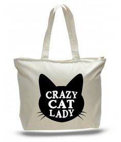 Crazy Cat Lady Extra Large Tote Bag in Natural Color with Zipper    20W x 15H x 5D Tote Bag and They are made of 100% cotton canvas with zipper