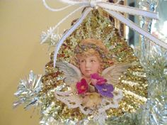 Victorian Christmas Ornament, Shabby Chic Ornament, Vintage ornament, Dresden Angel with vintage lace and vintage millinery flowers on Etsy, $8.95