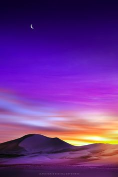 ~~Desert Dreams | crescent moon in a purple twilight sky | by Jasna Matz~~
