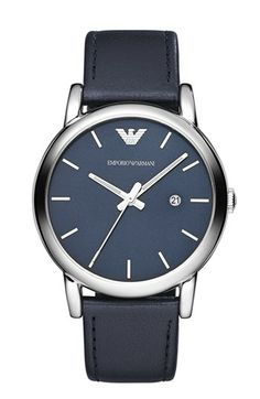 Emporio Armani Leather Strap Watch, 41mm available at #Nordstrom
