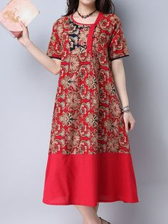 Vintage Print Patchwork Loose Short Sleeve O-neck Dress For Women