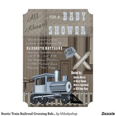 Rustic Train Railroad Crossing Baby Shower 5x7 Paper Invitation Card
