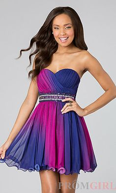 Short Strapless Sweetheart Ombre Dress at PromGirl.com