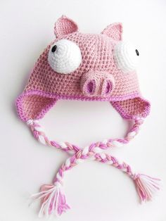 Inspiration: The Piggy From Invader Zim   Crochet Earflap by CrochetFun4Kids, $30.00