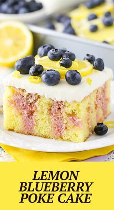 This Lemon Blueberry Poke Cake is made with a yellow cake flavored with lemon zest, soaked with lemon juice and blueberry puree, then topped with a light lemon frosting! It's delicious and perfect for spring! Delicious Cake Recipes, Best Cake Recipes, Lemon Recipes, Yummy Cakes, Dessert Recipes, Yummy Food, Lemon Frosting, No Sugar Foods, Cake Flavors