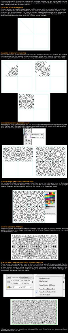Illustrator pattern tutorial  I will print this and hand it out to everyone I know.