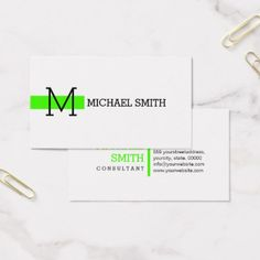 Monogram Plain White Elegant Modern Harlequin Business Card - consultant business job profession diy customize