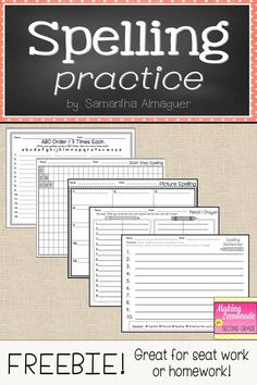 These pages are a simple solution to making easy, useful worksheets for spelling homework or seat work! In this download, you will find five different spelling practice pages for your students, which include: - ABC Order / 3 times each - Stair Step Spelli