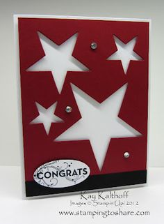 Shining star congratulations card.  Add personal touches to this handmade card after watching the great how-to video.