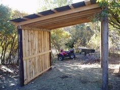 Rancho Los Cedros Photo Albums/Our Ranch/Ranch Projects/The Horse Shelter/Horse Shelter Project 006 Horse Shed, Horse Barn Plans, Horse Stalls, Horse Barns, Horses, Paddock Trail, Horse Paddock, Lean To Shelter, Field Shelters