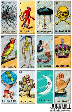 """LOTERIA - Digital Printable Collage Sheet - Vintage Loteria Card, Mexican Bingo, Day of the Dead, 1"""" x 2"""" Domino Tile, Instant Download"""