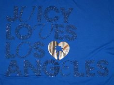 Juicy Couture Juniors S Small Shirt Blue Tee Sequin Loves Los Angeles Gold Heart