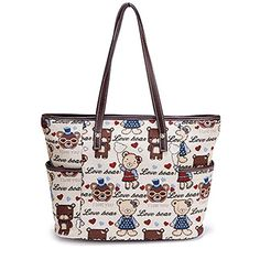 Women's Canvas Bear Pattern Animal Print Handbag Tote Bag... www.amazon.com/...