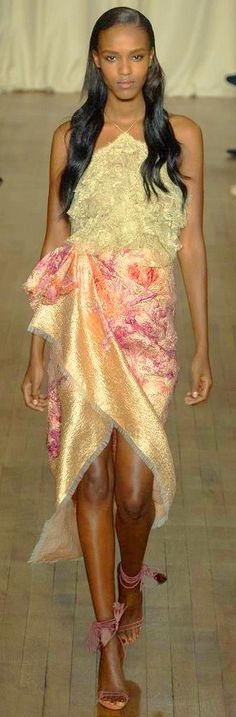 Marchesa RTW SS 2015 | champagne gold with floral print drape dress