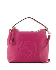 V2XFY Gucci Soho Large Leather Hobo Bag, Bright Pink