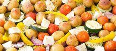 Makkelijk en lekker; courgette, aardappeltjes, tomaatjes en feta uit de oven