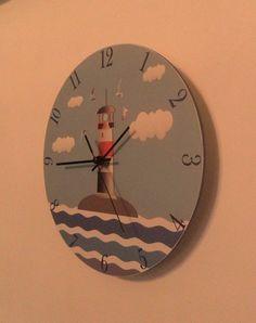 Lighthouse clock. Modern clock. Hall Lobby Boy room Quiet clock. German clockwork. White Blue Black , Housewares, office wall clock