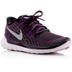Nike Free 5.0 Flash Lace Up Sneakers ($115) ❤ liked on Polyvore featuring shoes, sneakers, purple, purple shoes, lightweight sneakers, lace up sneakers, special occasion shoes and laced shoes