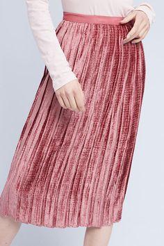 Slide View: 2: Pleated Velvet Midi Skirt