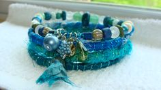 Beaded, silk wrapped, bangle, bracelets, jewelry, blue, ocean, beach, mermaid