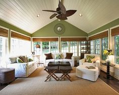 Great ideas for the sunroom living space. Love the vaulted ceiling and the ceiling fan.