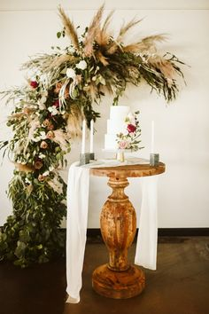 Read on to find out the details behind the couple's beautiful modern boho wedding at Record Downtown in Bentonville. Romantic Wedding Decor, Boho Wedding, Floral Wedding, Wedding Decorations, Table Decorations, Modern Boho, Heart Eyes, Palms, Amazing Cakes
