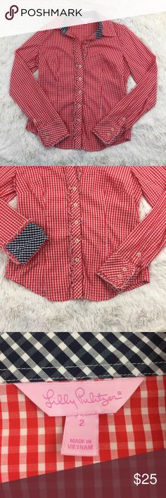 """Lily Pulitzer Size 2 Red Checked Ruffled Shirt Preowned, No Flaws, Size 2, Red Checked, Ruffled, Button Down, Long Sleeve, Armpit to Armpit 17"""" Length 22"""" Sleeve Length 25"""" Lilly Pulitzer Tops Button Down Shirts"""