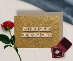 Will You Marry Me  Printable Greeting Card  Glitter Gold  image 1 Scrabble Tile Art, Scrabble Letters, Printable Cards, Printables, Scrabble Wedding, Happy Birthday Printable, Wedding Proposals, 65th Birthday, Announcement Cards