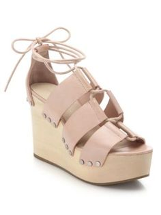 LOEFFLER RANDALL Ines Wooden Wedge Leather Platform Sandals. #loefflerrandall #shoes #sandals