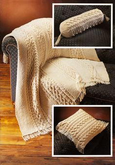 Stylish Aran Throw, Cushion Cover and Bolster Cover to knit.  Instructions are to make a 16 inch square cushion, a 18.5 inch long Bolster Cover and a 48 inch x 48 inch Throw. Available on Ebay.