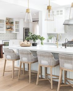 """Pure Salt Interiors on Instagram: """"These hardly need an introduction, but the Ava stool continues to be one of the top-selling items on our shoppe, and for good reason!…"""" Decor, White Kitchen, Kitchen Pendants, Interior, Home Furnishings, Kitchen Room, Kitchen Remodel, Kitchen Decor, Kitchen Design"""
