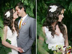 cinta a modo de diadema para la novia, pelo largo y suelto