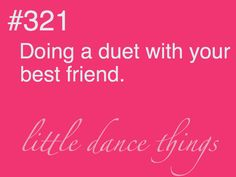 Aww I love this!! I have never had just a two person dance, but I have had a duet with someone in a group routine:))!!