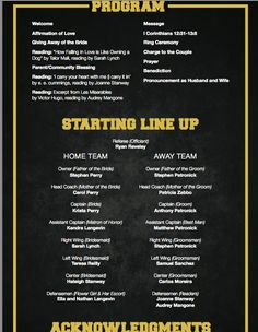 Hockey Wedding Program that you can adapt to fit baseball or softball