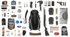 Apocalypse Pak consisting of all the essentials pictured. For complete list visit: http://uncrate.com/stuff/equipment-bug-out-bag/