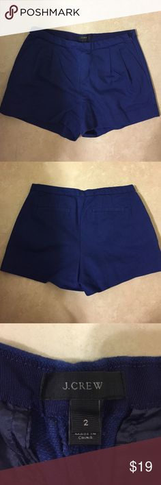 J CREW Pleated Shorts - Blue Pleated J Crew shorts in cobalt blue with zipper on the side. Worn once and never again - I have too many shorts! It's a really nice material that can be dressed up. Will look super cute this summer with wedges! J. Crew Shorts
