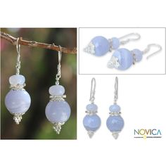 NOVICA Blue Lace Agate Dangle Earrings ($36) ❤ liked on Polyvore featuring jewelry, earrings, agate, dangle, peace sign jewelry, blue earrings, long dangle earrings, flower earrings and lace earrings