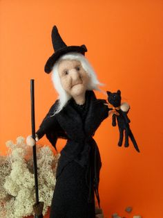 Needle Felted Witch holding Blk. Cat, handmade, Kathy's Holiday, Ocean City, NJ