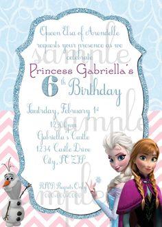 Disney's Frozen Birthday Invitation by EllieBlueDesigns on Etsy, $15.00