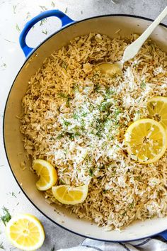 One Pot Greek Lemon Rice (stove top or rice cooker) infused with bright, fresh lemon and zippy dill and the option of butter and feta!   It's wonderfully easy and so good you will be eating straight from the pot!