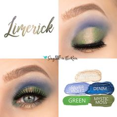 Limerick Eye Look uses five SeneGence ShadowSense: Sandstone Pearl Shimmer ShadowSense, Silver Violet ShadowSense, Denim ShadowSense, Green ShadowSense and Mystic Moss ShadowSense.  These cream to powder eyeshadows will last ALL DAY on your eye.  #shadowsense #eyeshadow