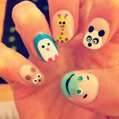 Animal nail art =^.^= We could make the panda red lol