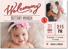 Cute Beginning - Girl Photo Birth Announcements - Petite Alma - Coral - Pink : Front