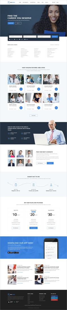 Jobseeker is a wonderful premium #PSD template for #webdev #Job searching #agency website with 3 unique homepage layouts and 21 pixel perfect PSD pages download now➩  https://themeforest.net/item/jobseeker-job-portal-psd-template/18809244?ref=Datasata